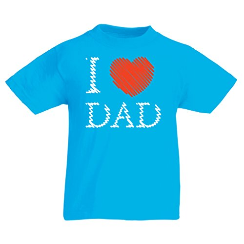lepni.me T Shirts For Kids I Love My Dad - Father's Day Gifts Ideas For Husband Daddy Father (3-4 Years Light Blue Multi Color)