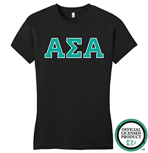ALPHA SIGMA ALPHA | Turquoise Letters - Licensed Fitted Ladies' T-shirt-Ladies,