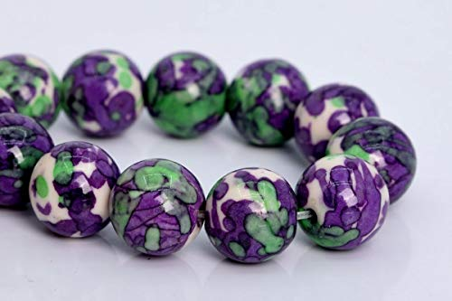 - 12MM Purple & Green Rain Flower Jade Beads Grade AAA Round Loose Beads 7.5