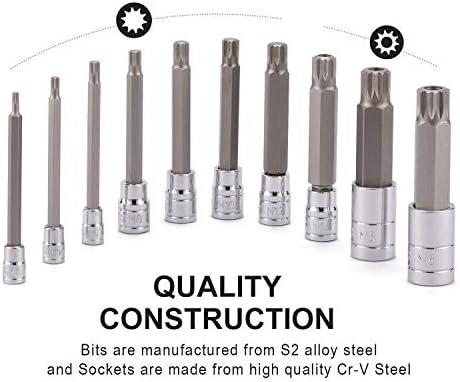 Extra Long 4 Length CASOMAN 10 Piece Spline Tip Bit Socket Set M-Type M4-M18 S2 and Cr-V Steel XZN Triple Square Spline Bit Socket Set