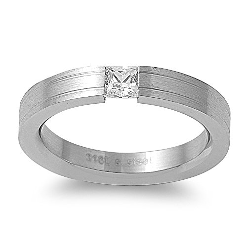 Tension Set Princess Cut Cubic Zirconia Designer Ring Stainless Steel Size 6