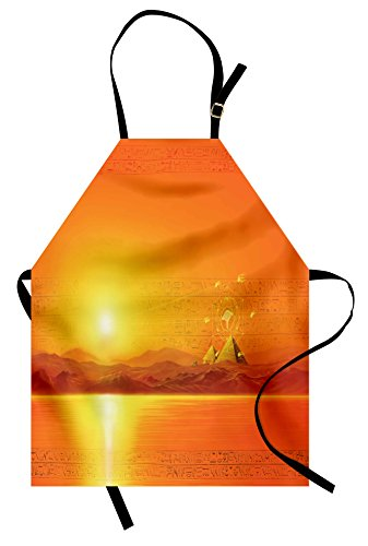 Ambesonne Egypt Apron, Sacred Geometry Symbol Hanging in The Air Sun Ancient Scenery Reflection Print, Unisex Kitchen Bib Apron with Adjustable Neck for Cooking Baking Gardening, Yellow Orange