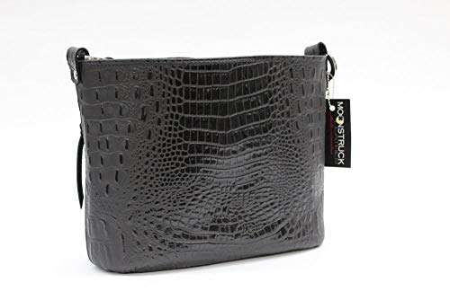 MoonStruck Leather Concealed Carry Purse - CCW Handbags - Black Embossed Croc Classic - Made in the USA - - Croc Handbag Leather
