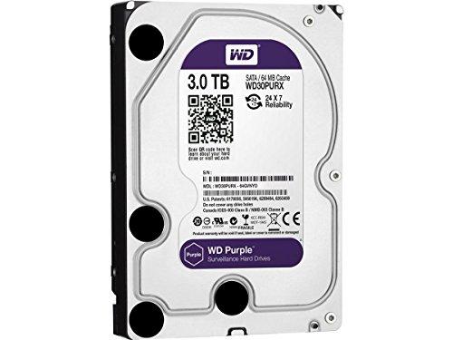 WD Purple 3TB Surveillance Hard Drive - 5400 RPM Class, SATA 6 Gb/s, 64 MB Cache, 3.5