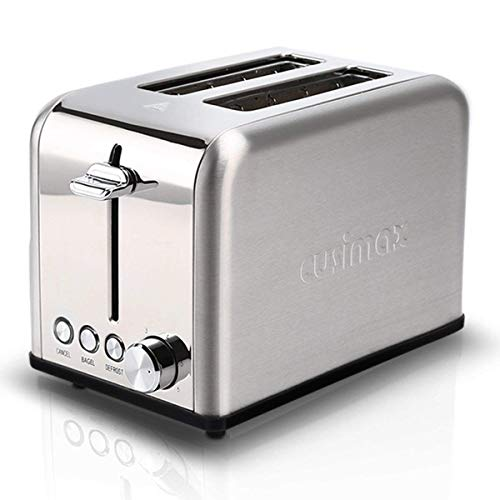 Cusimax 2-Slice Toaster 2 Wide Slot – Stainless Steel Compact Bagel Toaster – 6 Shade Settings Bread Toaster – CMST-80S