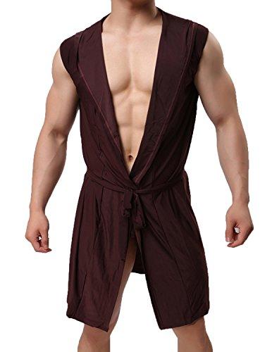 Haseil Men's Silk Kimono Bathrobe Hooded Sleeveless Open Front Sleepwear Pajamas, Brown, TagsizeXL=USsizeL
