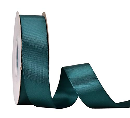 Gatton Double Face Satin Ribbon - 1 inch 25 Yards for Gift Package Wrapping,Floral Design,Hair Accessories,Crafting,Sewing,ding Decor, Teal | Model WDDNG - 1727 | 1 Inch 25yds
