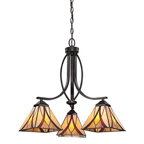Quoizel TFAS5003VA Asheville Tiffany Downlight Chandelier, 3-Light, 300 Watts, Valiant Bronze (22