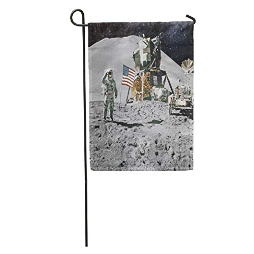 Semtomn Garden Flag Astronaut on Lunar Moon Landing Mission of This Furnished Home Yard House Decor Barnner Outdoor Stand 28x40 Inches Flag