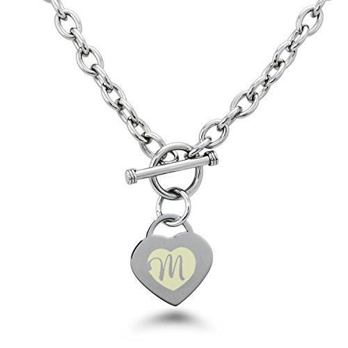 Stainless Steel Alphabet Letter M Initial Engraved Heart Charm, Necklace (Tiffany Toggle)