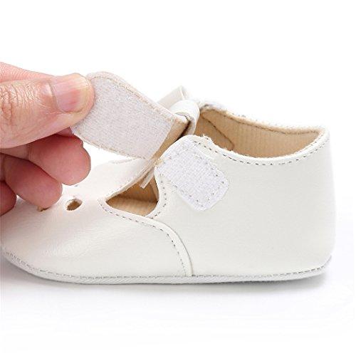 Baby Girls Christening Baptism Mary Jane Soft Sole Classic Hollow Princess Dress Flat Shoes White Size L by LINKEY (Image #4)