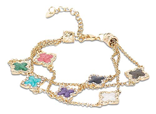 Nessy Designs Pavé Enclosed Four-Leaf Flower Bracelet, Multicolored Clovers On Gold Chain, One Size
