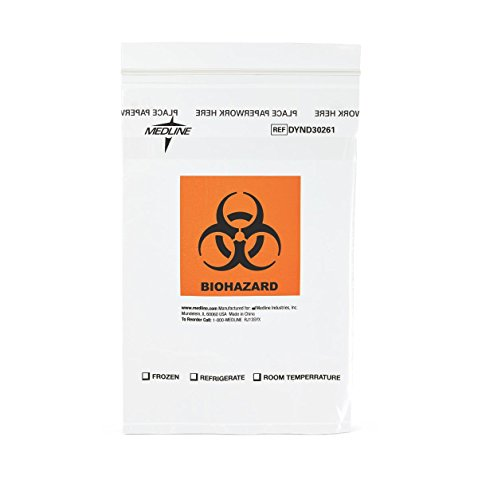 (Medline DYND30261Z Zip-Style Biohazard Specimen Bags, Plastic, Latex Free, 9