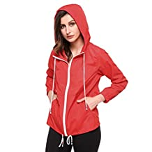 Zeagoo Women's Waterproof Raincoat Outdoor Hooded Rain Jacket Windbreaker (S-XXL)