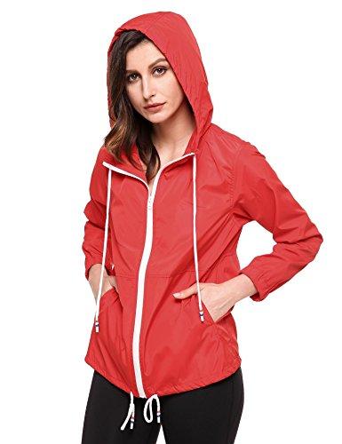 Imperméable vent Léger Femme Randonnée Coorun Rouge Capuche pluie Anti Pliable À Vestes De Coupe Extérieure T4TvY