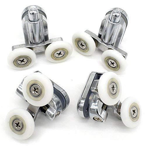 Rotelle per fissaggio della porta della doccia, cromate, 2 per la parte superiore e 2 per la parte inferiore, adatte per vetro da 4-6mm YuanQian