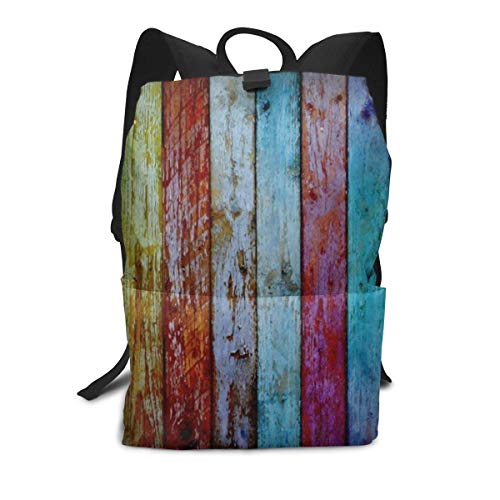 Funny Backpack Faded Grungy Wood Wall Zipper School Bookbag Daypack Travel Rucksack Gym Bag For Man Women