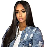 Hair X Black Long Straight Women Lace Frontal Wig Cap Baby Hair 150% Density 20ich Human Hair Natural Hairline
