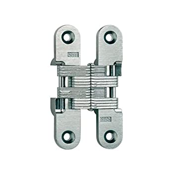 Soss 212 Full Inset Invisible Cabinet Door Hinge With 180 Degree Opening  Angle  , Satin