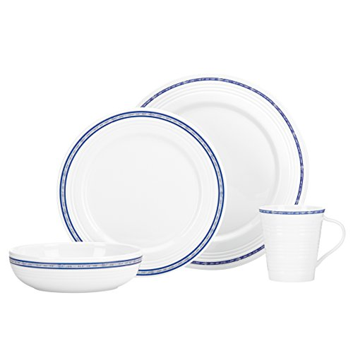 - Lenox 4 Piece Tin Can Alley Navy Place Setting, White