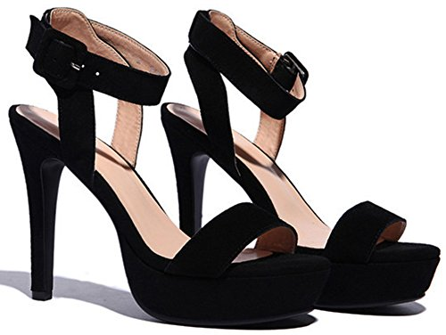 IDIFU Shoes Stiletto Black Heels Wedding Women Sandals XFXrAnq