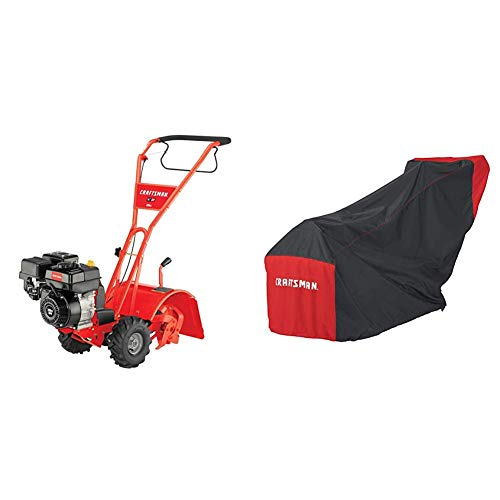 Craftsman CMXGVAM1144036 208cc 14-Inch Gas Powered Rear Counter Rotating Tine Tiller With Craftsman Gas Rototiller Cover
