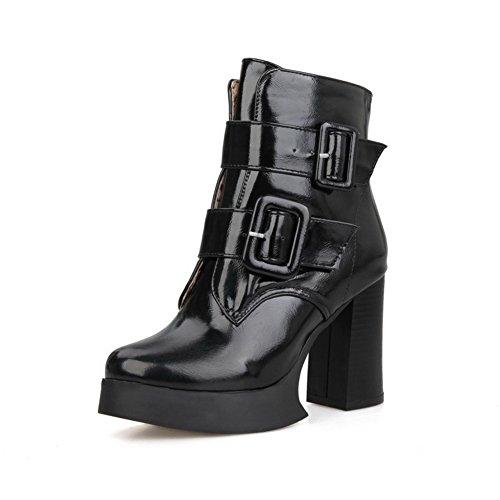 AllhqFashion Damen Blend-Materialien Rund Zehe Rein Niedrig-Spitze Hoher Absatz Stiefel Schwarz