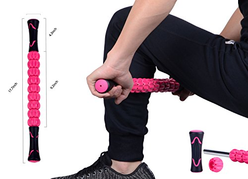 Handheld Muscle Roller Stick for Athletes- Sturdy Body Massage Rolling Sticks Tools-Muscle Body Roller Massager for Relief Muscle Soreness,Cramping and Tightness,Help Legs and Back Recovery(Pink)