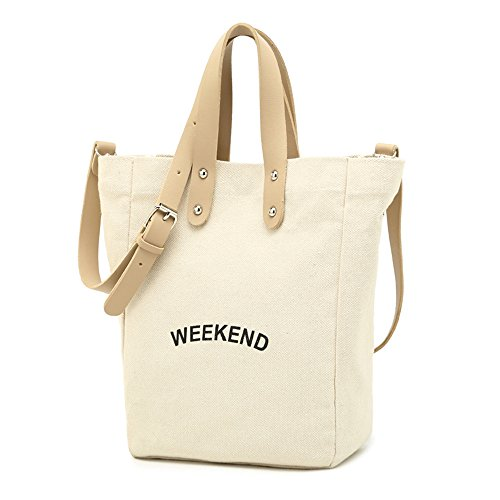 SHINING KIDS Schulter Brief Canvas Bag Student Hand Einkaufstasche Laptop Messenger Bag White