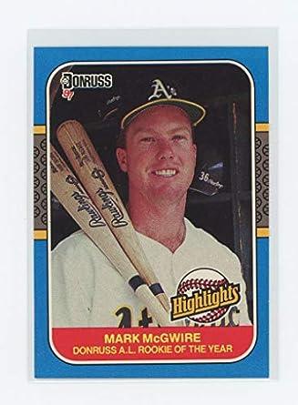 1987 Donruss Highlights 54 Mark Mcgwire Oakland As Rookie Card