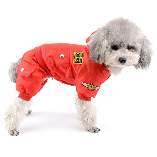 Picture of SELMAI Waterproof Fleece Lined Dog Winter Coat Snow Suit Airman Hooded Jumpsuit Snowsuits for Small Dog Puppy Chihuahua Red S