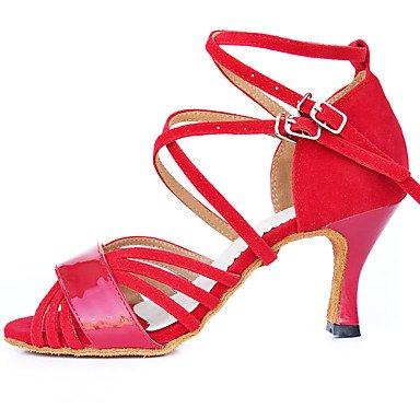 Ferse Professionelle Praxis Anfänger Outdoor Damen Beflockung Dance latin Sandalen Performance Flared Schuhe dquietness Indoor rot Beflockung rot 8KFcWFyqR
