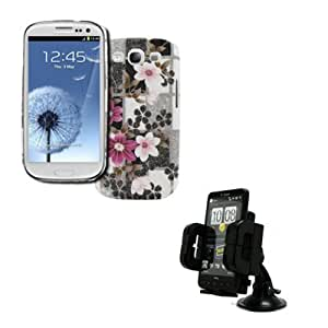 EMPIRE Samsung Galaxy S III / S3 Stealth Design Case Cover (Pink Flowers Checkered Design) + Car Dashboard Mount [EMPIRE Packaging]