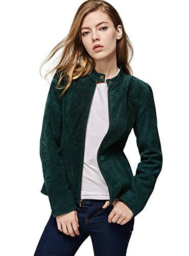 Escalier Women`s Genuine Leather Jacket Suede Moto Jackets