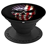American Flag Skull Gift Phone Accessory PopSockets Grip and Stand for Phones and Tablets