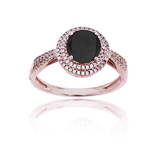 (Sterling Silver Rose 0.15 CTTW Round Diamond & 7mm Round Onyx Double Halo Ring)