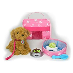 Pets for 18 Inch Dolls, Complete Puppy Dog Play Set, Perfect Doll Toy fit for 18 Inch American Girl Dolls & More! Cuddly Dog, Leash, Carrier, Bed, Food & Play Dog Accessories - 41jE tTDrUL - Sophia's Pets for 18″ Dolls, Complete Puppy Dog Play Set, Perfect Doll Toy for 18″ American Girl Dolls & More! Cuddly Dog, Leash, Carrier, Bed, Food & Play Dog Accessories by
