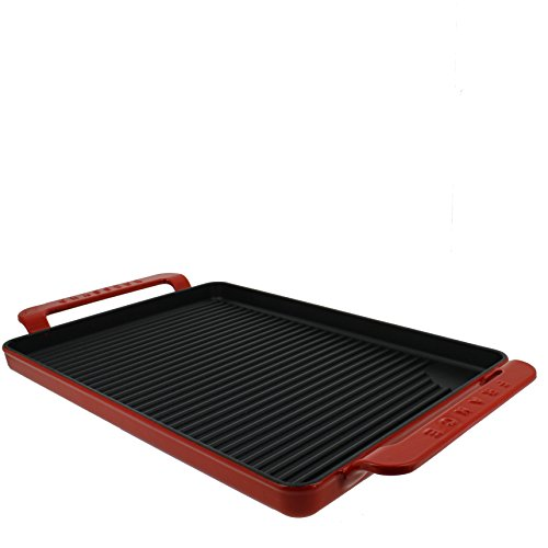Chasseur 14-inch Flame Red Rectangular French Enameled Cast Iron Grill Pan with Handles