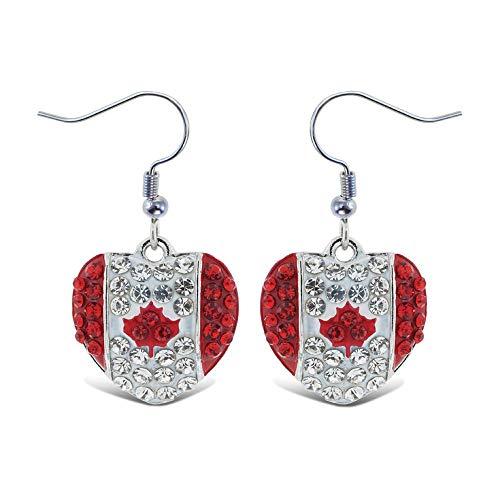 Canadian Jewelry - Aqua79 Crystal Dangle Drop Rhinestone Earrings, Women Charm Hook Jewelry (Canada Heart)