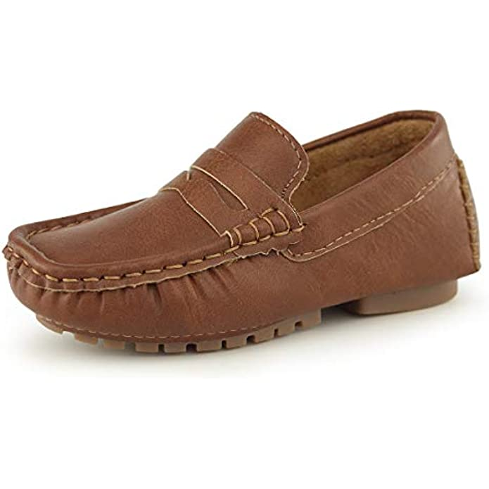 Hawkwell Kids Casual Penny Loafer Moccasin Dress Driver Shoes(Toddler/Little Kid)