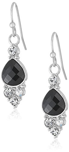 1928 Jewelry Silver-Tone Black and Crystal Accent Petite Drop Earrings (Accents Black Crystal)
