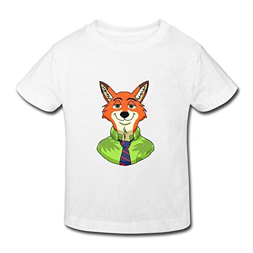 Price comparison product image ZULA 2-6 Years Kids Fashion 2016 Zootopia Movie Trailer Fox Tshirt White Size 3 Toddler
