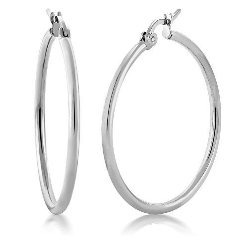 (Gem Stone King 1.25 Inch Stunning Stainless Steel Hoop Earrings (30mm Diameter))