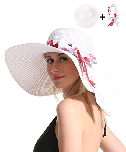 Women Straw Sun Beach Hat - White Large Wide Brim Floppy Resting Face Sunhat Roll Up Foldable Packable for Summer Vacation UV Protection Ribbon Deal ()