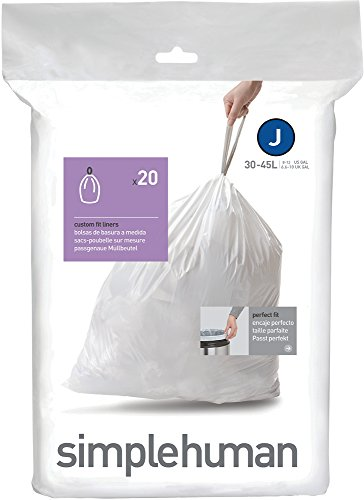 Simplehuman Cw0169 Code J Custom Fit Bin Liners White Plastic Pack Of 20 Liners