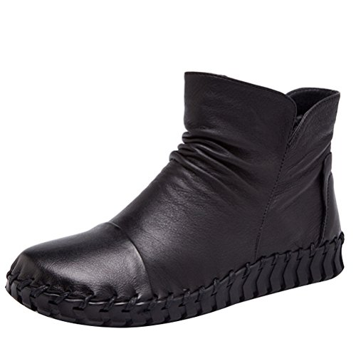 Mordenmiss Women's New Fall Winter Martin Flat Plain Toe Boots-Style 2-39-Black by Mordenmiss
