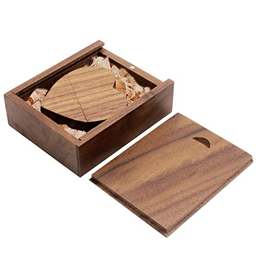 (Ace one Wooden Heart Shape USB Flash Drive USB Memory Stick Thumb Drivers 16gb 2.0 High Speed with Matching Box for Novelty Gift(Walnut 16g))