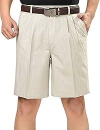 Men's Casual Cotton Linen Pleated Dress Shorts