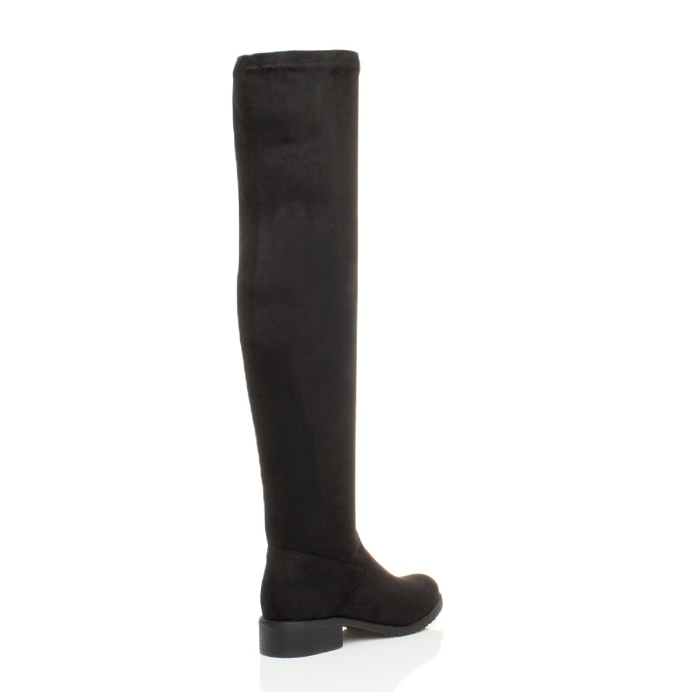 84265c929d1e Ajvani Womens Ladies Low Heel Flat Thigh high Over The Knee Stretch Riding  Boots Size  Amazon.co.uk  Shoes   Bags