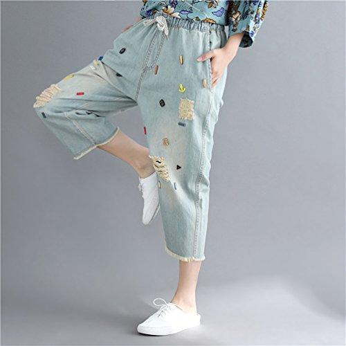 8 Elastica Con Jeans Da Distressed Coulisse Pantaloni Strappati Vita Cropped Donna 7 Jitong Di Blu Denim 50qzpxwOn